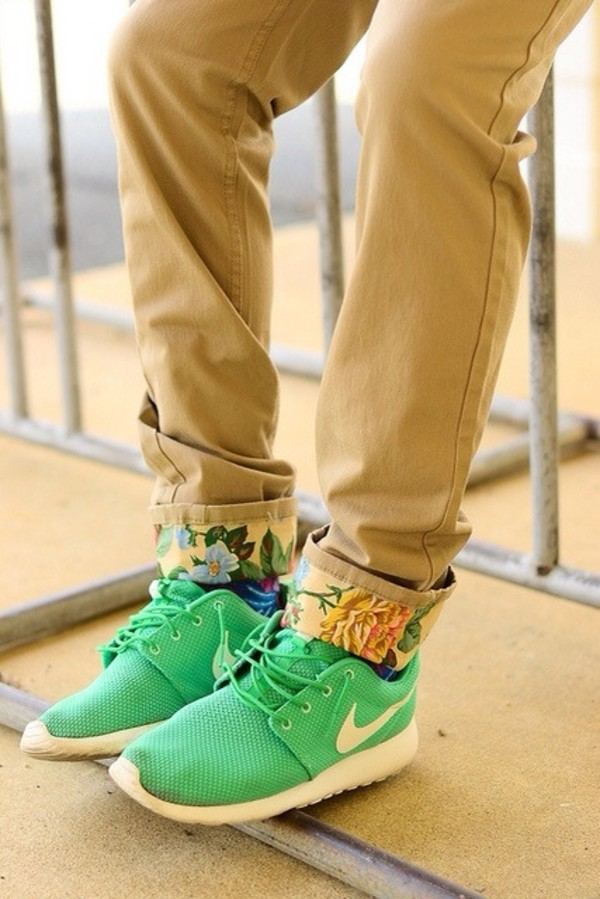 pants khaki pants shoes flowers cuffed mens shoes mens straight jeans mens low top sneakers green sneakers floral floral jeans khaki menswear tan nice nik nike nike roshe run