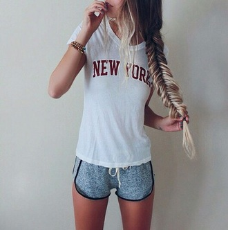 new york white t-shirt t-shirt shorts