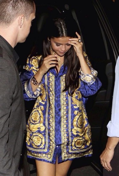 selena gomez blouse blue and gold silk blue dress cardigan