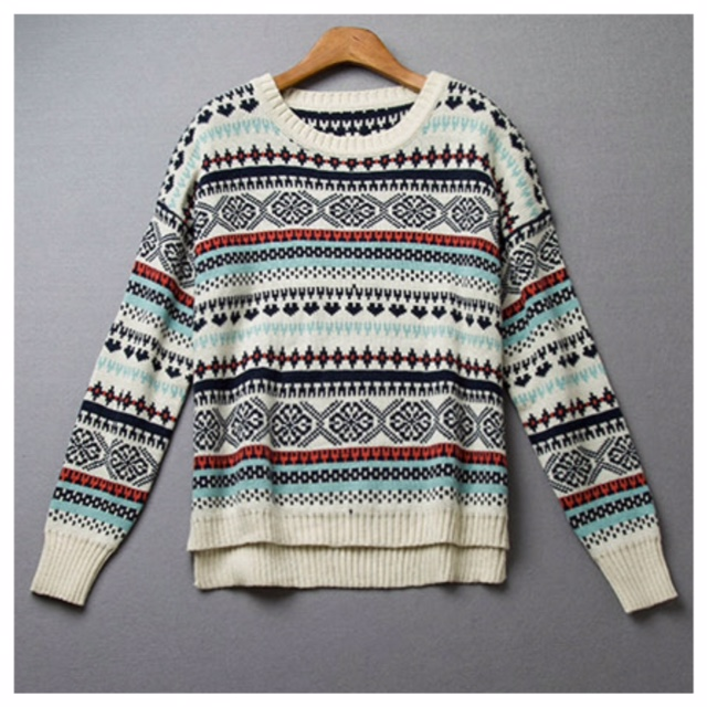 Aztec tribal sweater in multicolor