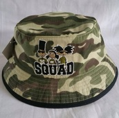 hat,90s style,bucket hat,squad,cartoon,camouflage,hey arnold,printed bucket hat