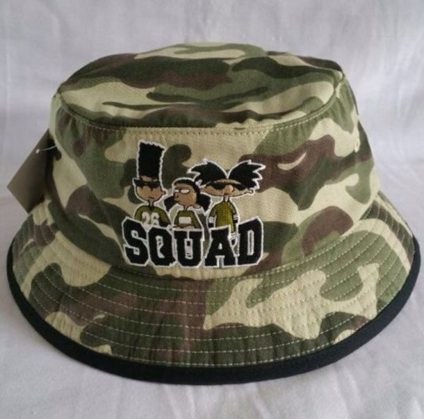 hat 90s style bucket hat bucket hat squad cartoon camouflage camouflage hey  arnold printed bucket hat 4a485fdd429f