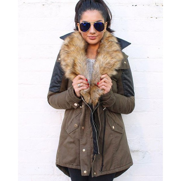 Suzie Quilted Sleeve Faux Leather Insert Parka with Faux Fur Stole ...