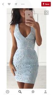 dress,lace dress,blue dress,mini dress,light blue lace,light blue lace tight dress,short light blue lace dress