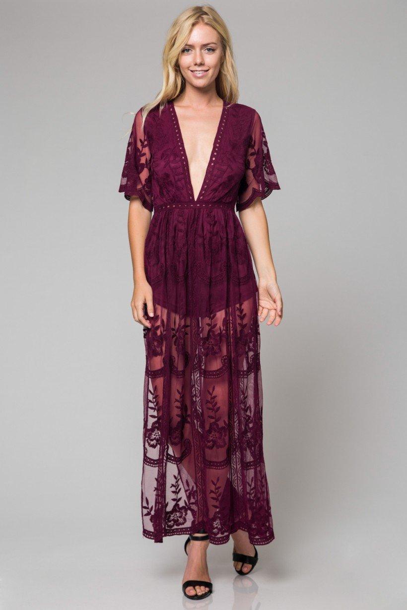 c5b70e89e49 Bohemian Rhapsody- Honey Punch Lace Maxi Dress