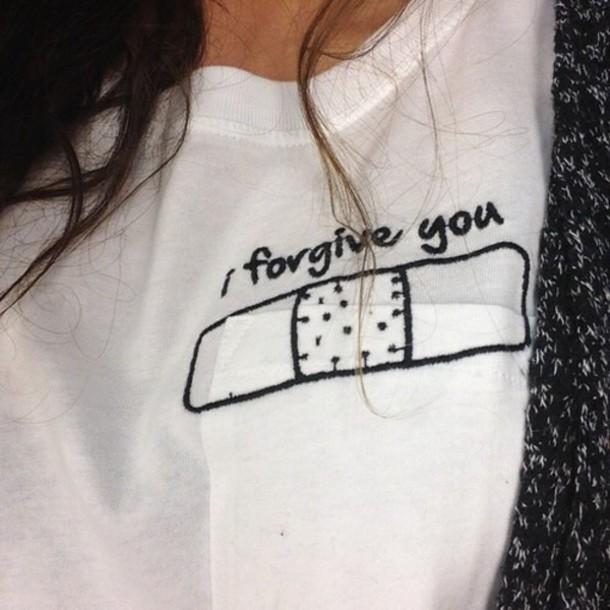 shirt pale love band aid forgive t-shirt girl girly girly wishlist