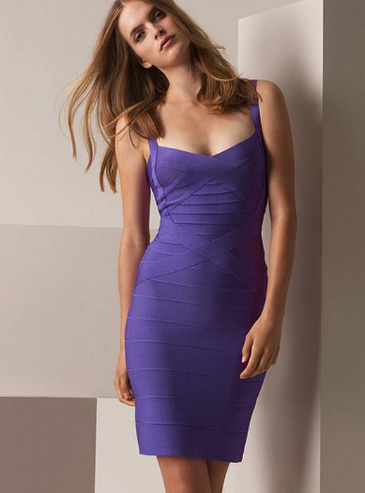 Purple Sexy Dress - Bqueen Halter Strap Bandage Dress | UsTrendy