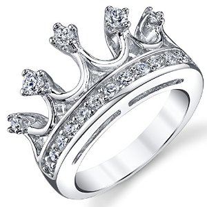 Amazon.com: 925 Sterling Silver Princess Crown Tiara Cubic Zirconia Ring Band: Jewelry