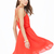 Orange V-shaped Neckline Spaghetti Strap Pleated Dress - Sheinside.com