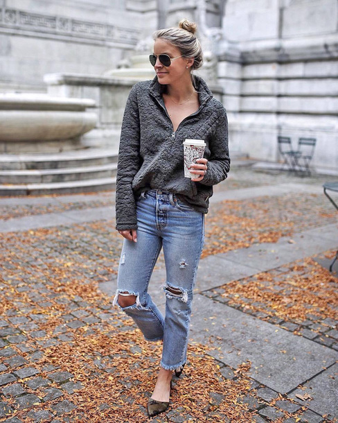 sweater tumblr grey sweater denim jeans blue jeans ripped jeans shoes sunglasses