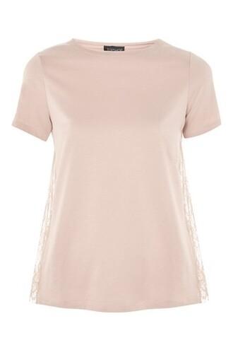 t-shirt shirt lace pink top