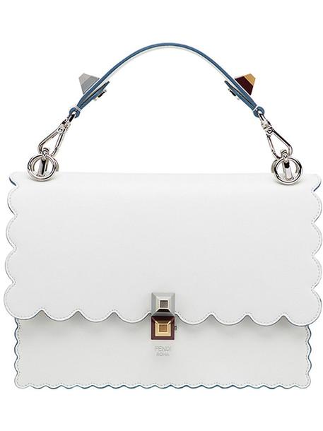 women scalloped abs handbag leather white bag