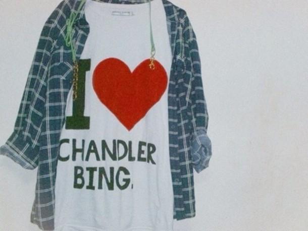 t-shirt friends fashion grunge vintage chandler bing flannel shirt