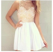 dress,white dress,crochet,short dress,bag,lace,lace dress,white,cute,prom,homecoming,prom dress,skirt,beige dress,pretty,wanted,celebrity style,neckline,cage effect,gold,beautiful,cut-out dress,white lace dress,cute dress,wide skirt,top,coral,fashion,mesh,skater,net,light pink,summer dress,short,detailed neckline,white crochet dress,white from the bottom,white beautiful amazing love,clothes,skater dress,high neck,sweetheart dress,tan dress,detailed,fancy dress,sparkle,pink,summer,laced dress,tumblr girl,tumblr dress,tumblr,little white dress,cream,cream dress,flowy dress,crochet top dress,tan,flowers,peach,peach/pink,lace top,mid dress,lace white and beige,cut-out,gold dress,bustier,bustier dress,summer outfits,summer out,cream/white dress,above the knee,embroidered dress,white and gold,classy dress,chiffon,homecoming dress chiffon,white crochet sweet heart  dresss,nude dress,colthes,patterned dress