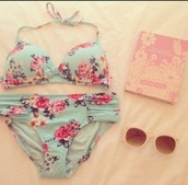 swimwear,bikini,blue,roses,flowers,mint,vintage,sexy,summer,floral,pink,top,bottoms,chic,cute,bow,ruching,floral swimwear,floral bikini,floral swimsuit,cute bikini,hipster bikini,cool,90s style,pastel goth,book,pastel swimwear,❤️,pretty blue,design,lovely,light blue,coral