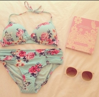 swimwear bikini blue floral pink top bottoms roses flowers mint vintage sexy summer chic cute bow ruching design floral swimwear light blue coral