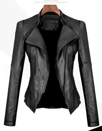 jacket clothes leather jacket tight fake leather fake leather jacket