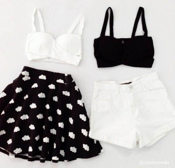 top skirt black and white clouds crop tops girly girly outfits tumblr shorts shirt