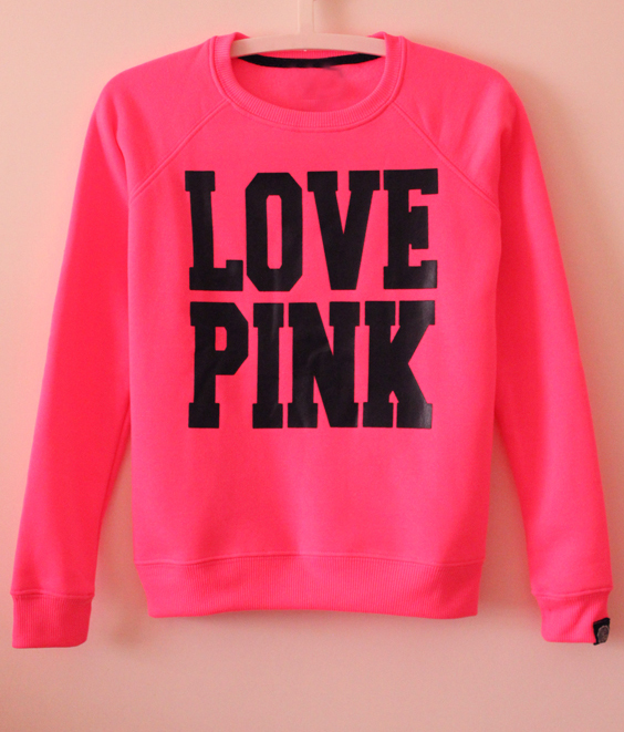 Long Sleeve LOVE PINK Print Sweatshirt -SheIn(Sheinside)