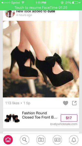 shoes black high heels bow heels
