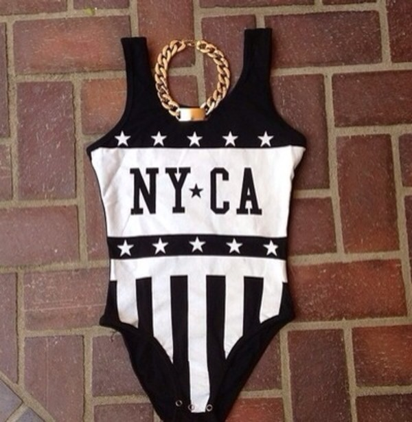 swimwear black and white nyca stars jewels