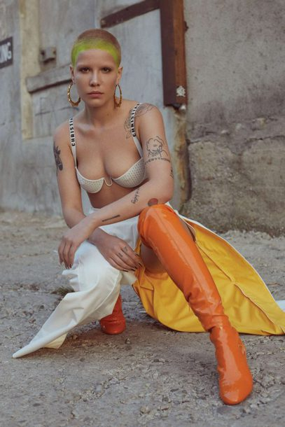 pants bra boots halsey editorial