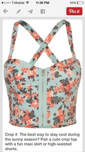 top,floral bustier,zip,criss cross