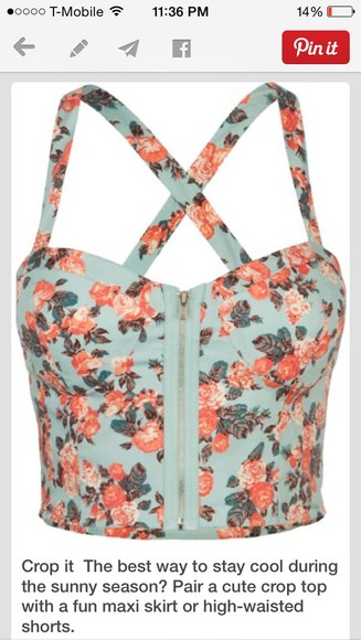 top floral bustier zipper criss cross strap