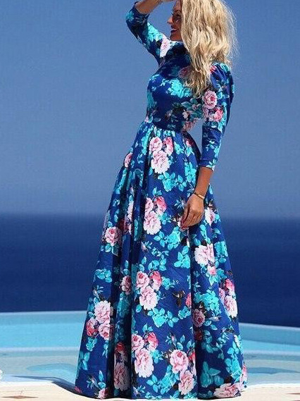 95f8c660ed Blue Round Neck Long Sleeve Floral Maxi Dress -SheIn(Sheinside)