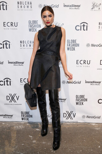 dress black dress boots ny fashion week 2016 fashion week 2016 olivia culpo