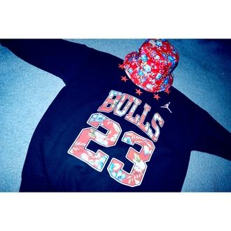 hat bucket hat jordan sweatshirt bulls shirt sweater leggings