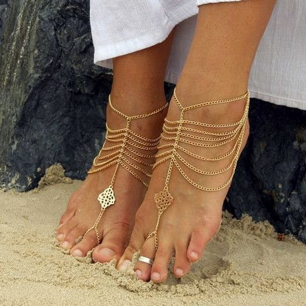 Cherish Bohemian Barefoot Sandals Barefoot Beach Wedding