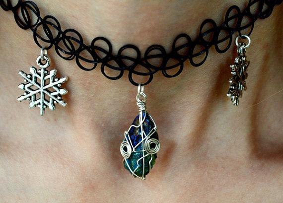 Rough rainbow sky blue titanium quartz with snowflake charms