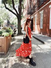 dress,tumblr,maxi dress,long dress,red dress,slip dress,bag,black bag,boots,black boots,shoes
