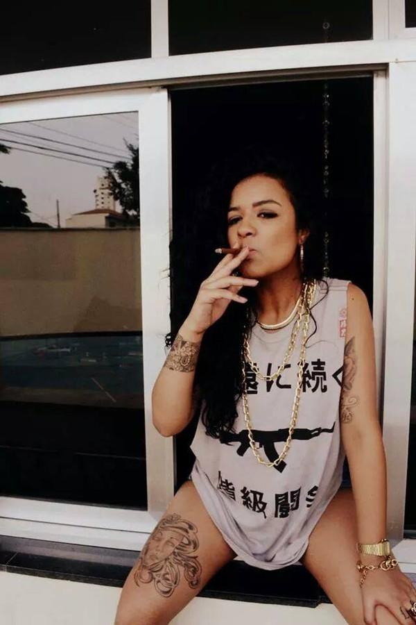 ak ak47 ak 47 kanji clothes girl tattoo gangsta