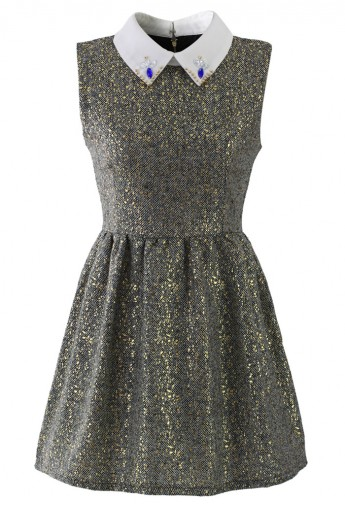 Sleeveless Tweed Dress with Decor Collar - Retro, Indie and Unique Fashion