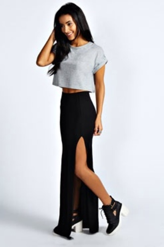 shirt skirt black skirt maxi skirt slit in side tumblr slit skirt cute cute skirt pretty little liars t-shirt