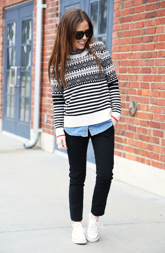 dress corilynn blogger black jeans striped sweater winter sweater sweater top pants shoes coat sunglasses
