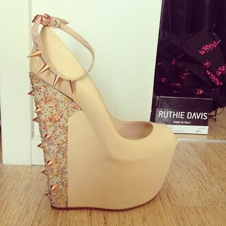 shoes wedges heels high heels nude spikes spiked shoes diamonds sunglasses