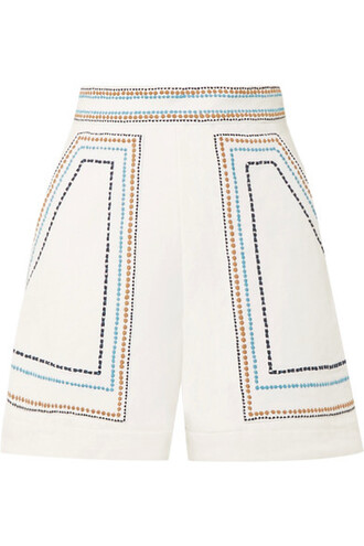 shorts embroidered white cotton