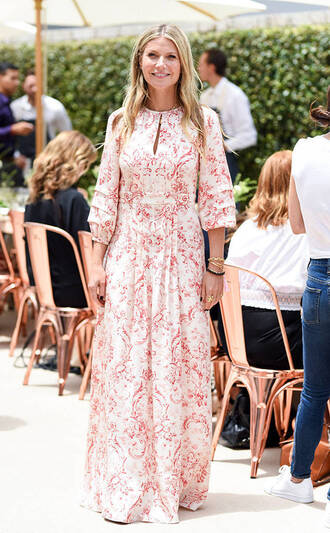 dress maxi dress spring dress gwyneth paltrow long sleeve dress spring outfits