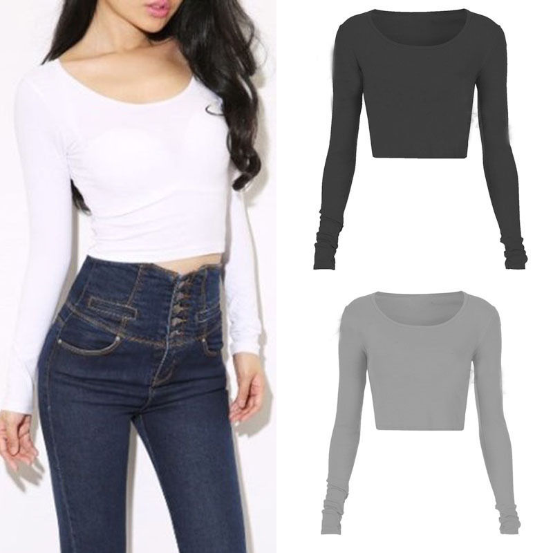 Sexy Women Summer Long Sleeve Camisole Casual Crop Blouse Top Shirt
