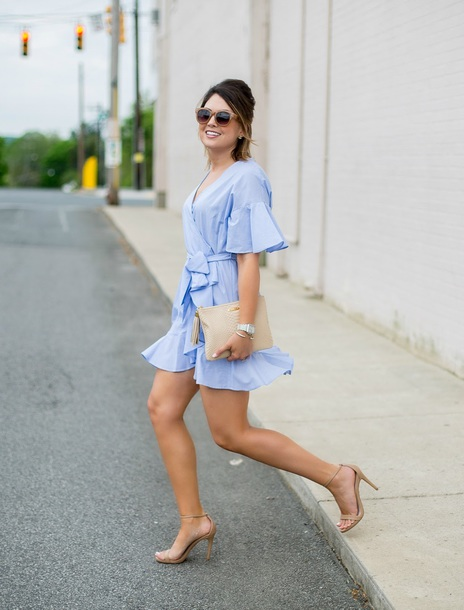 life & messy hair blogger dress shoes jewels sunglasses bag sandals high heel sandals blue dress clutch spring outfits