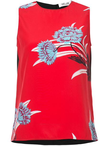 Dvf Diane Von Furstenberg women print silk red top