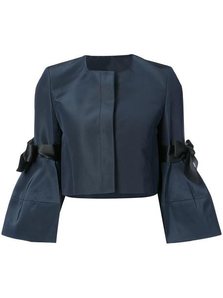 Carolina Herrera jacket bow women blue silk