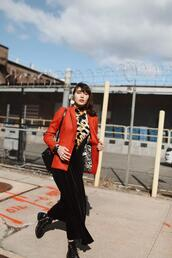 natalie off duty,blogger,jacket,blouse,jeans,shoes,bag,fall outfits,red jacket,blazer