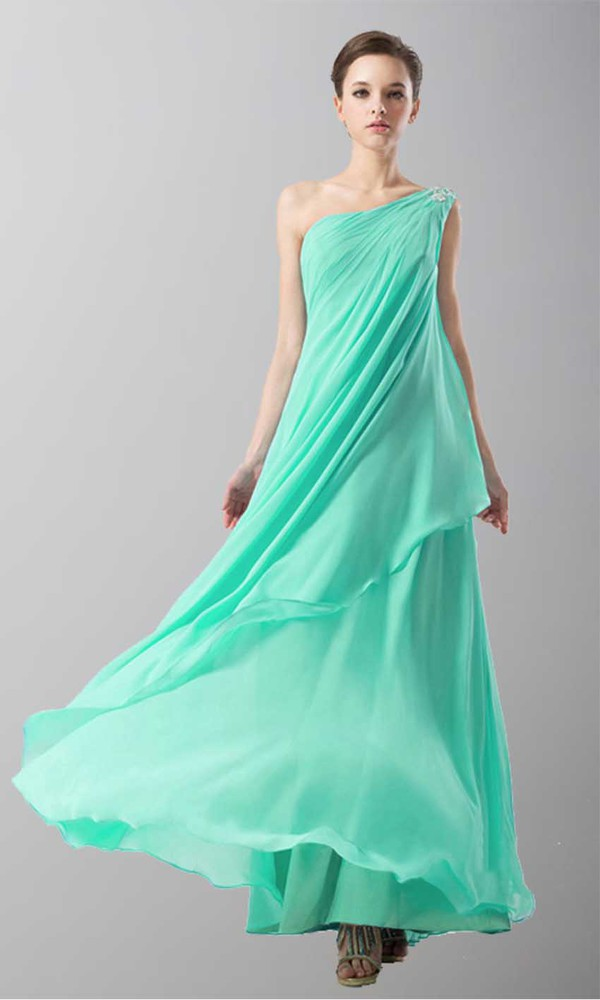 aqua dress prom dress formal dress one shoulder dresses goddess dress empire waist dress long prom dress asymmetrical dress layers skirt