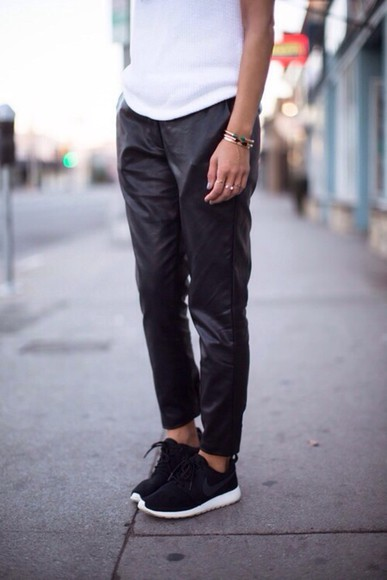pants black leather trousers nike monochrome white baggy roshe runs tee boyfriend style