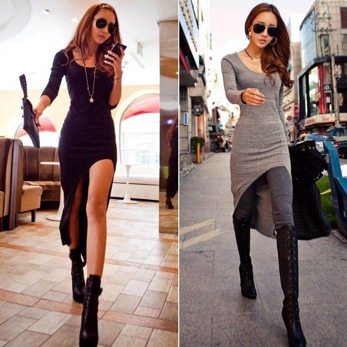 New Women Sexy Slim Split Irregular Clubwear Asymmetric Hem Maxi Long Dress | eBay