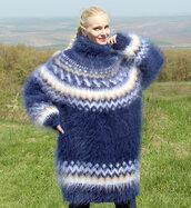 sweater,hand,knit,mohair,icelandic,turtleneck,supertanya,angora,wool,nordic,alpaca,cashmere,made,fluffy,soft